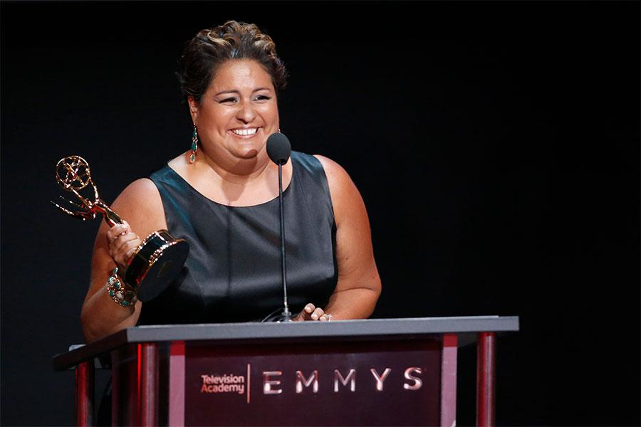 Stephanie Miranda accepts an award at the L.A. Area Emmy Awards presented at the Television Academy's Wolf Theatre at the Saban Media Center on Saturday, July 22, 2017, in North Hollywood, California.