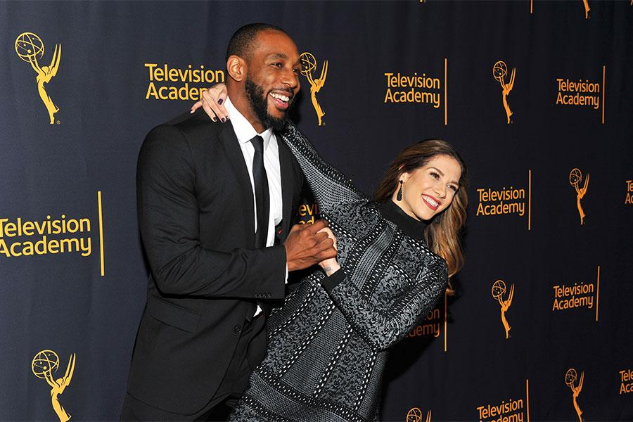 """Stephen """"tWitch"""" Boss and Allison Holker arrive at """"Whose Dance Is It Anyway?"""" February 16, 2017, at the Saban Media Center in North Nollywood, California."""