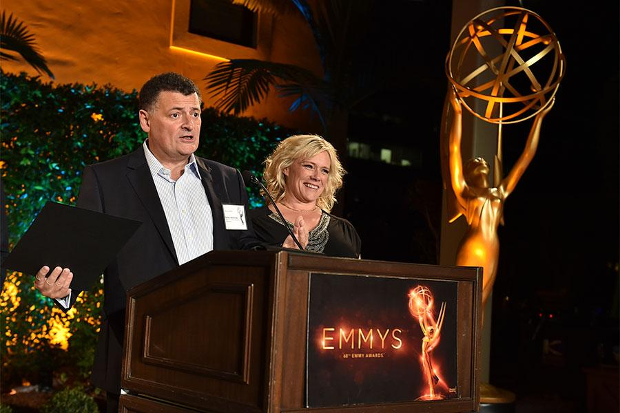 Steven Moffat and Sue Vertue at the producers nominee reception, September 15, 2016, at the Montage in Beverly Hills, California.