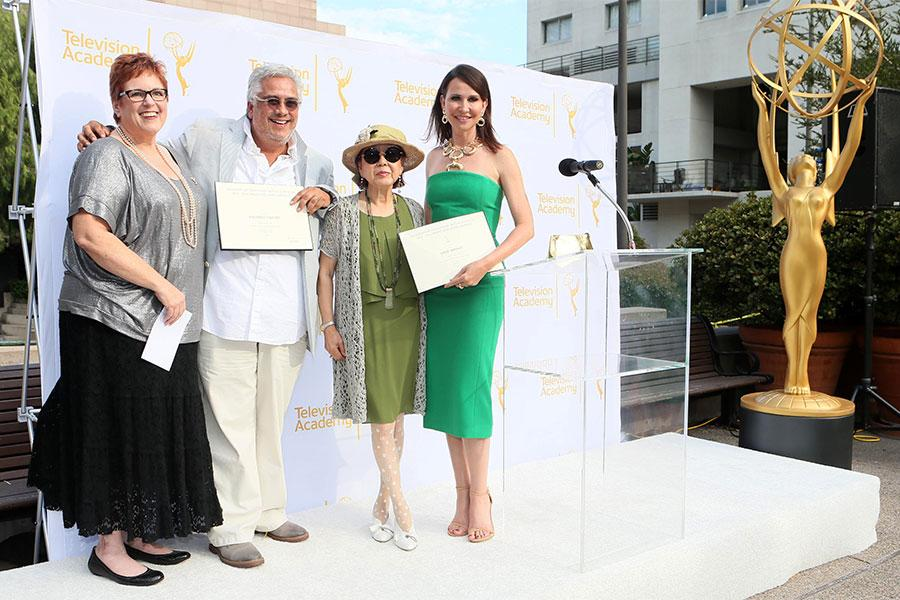 Television Academy governor Sue Bub, 2014 nominee Eduardo Castro (Once Upon A Time), guest curator and designer Mary Rose, and 2014 nominee Janie Bryant (Mad Men).