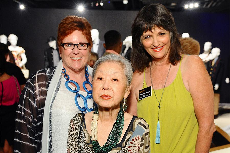 Television Academy governors Sue Bub and Terry Ann Gordon with Mary Rose at The 9th Annual Outstanding Art of Television Costume Design Exhibition at the FIDM Museum & Galleries, Saturday, July 18, 2015, in Los Angeles.