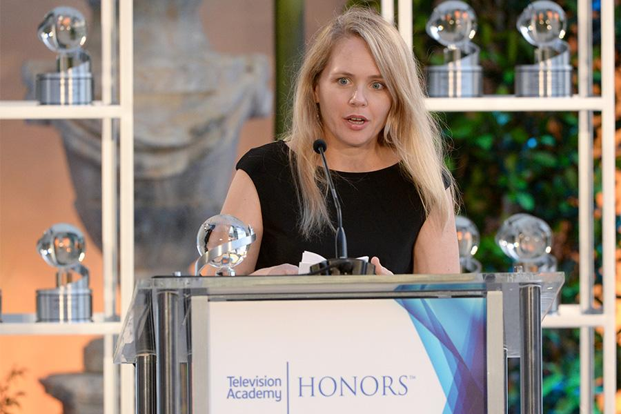 Tara Grace, VP of HBO Films, accepts the honor for The Normal Heart at the awards presentation at the Eighth Annual Television Academy Honors, May 27 at the Montage Beverly Hills.