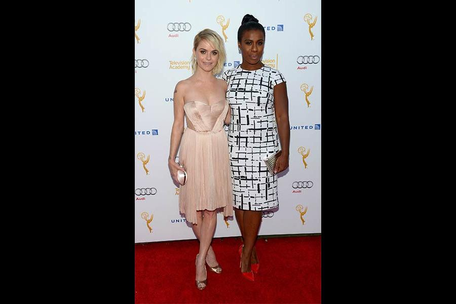 Taryn Manning and Uzo Aduba arrive at the Performers Peer Group nominee reception in West Hollywood.