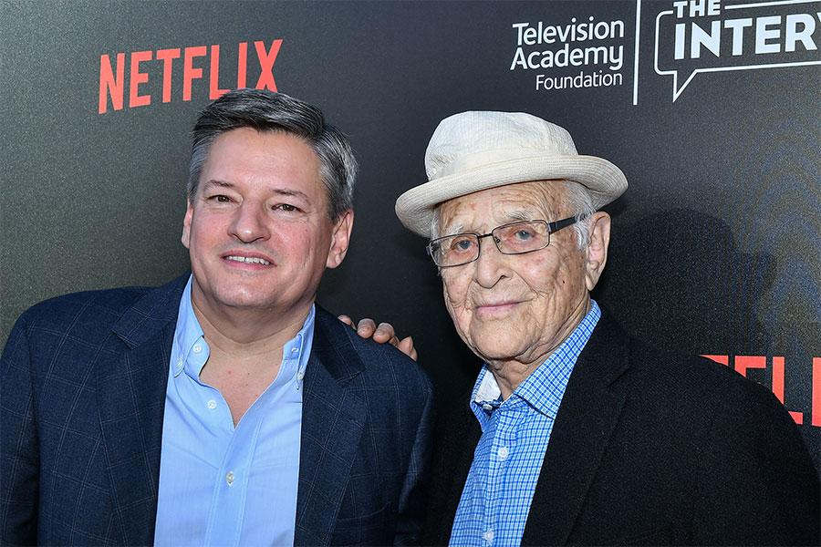Ted Sarandos and Norman Lear arrive at The Power of TV: A Conversation with Norman Lear and One Day at a Time, presented by the Television Academy Foundation and Netflix in celebration of the Foundation's 20th Anniversary of THE INTERVIEWS: An Oral Histor