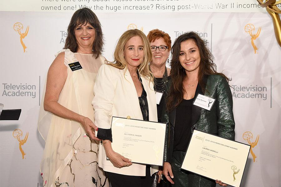 Television Academy governors Terry Ann Gordon and Sue Bub with Allyson Fanger and Lauren Morelli at the 10th Annual Art of Television Costume Design Exhibition opening at the FIDM Museum & Galleries on the Park on Saturday, July 30, 2015, in Los Angeles.