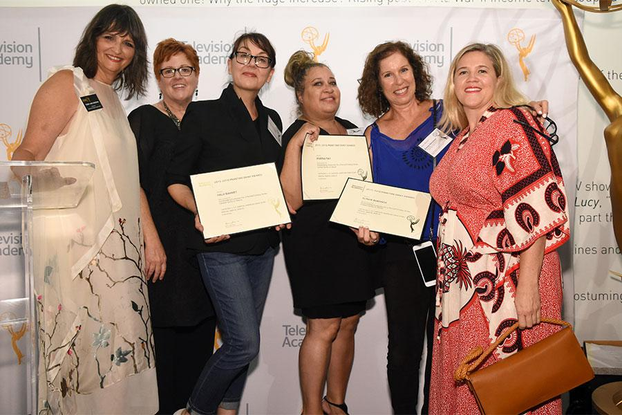 Television Academy governors Terry Ann Gordon and Sue Bub with Hala Bahmet, Marina Ray, Elinor Bardach, and Stephanie Sparkman at the 10th Annual Art of Television Costume Design Exhibition opening at the FIDM Museum & Galleries on the Park on Saturday, J