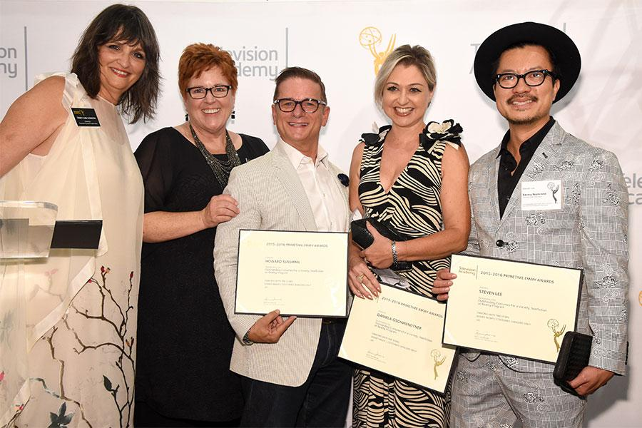 Television Academy governors Terry Ann Gordon and Sue Bub with Howard Sussman, Daniela Gschwendtner, and Steven Lee at the 10th Annual Art of Television Costume Design Exhibition opening at the FIDM Museum & Galleries on the Park on Saturday, July 30, 201