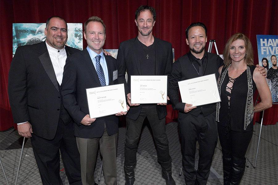 Thom Williams, Matt Taylor, Jeff Wolf, Hiro Koda and Dorenda Moore at the Stunts Nominee Reception in North Hollywood, California.