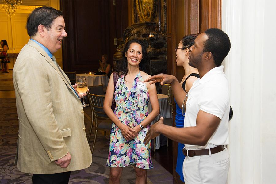 Thomas Maier, Karen Tsen Lee, Stephanie Hui, and Nnamdi Nwosa at Networking Night Out NYC! at the St. Regis Hotel in New York City, June 12, 2015.