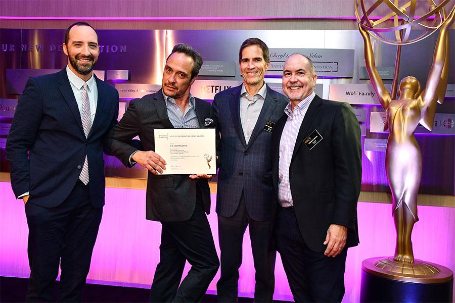 Tony Hale, D.V. DiVincentis, and Television Academy governors Chip Johannessen and Terence Winter at the writers nominee reception, September 14, 2016, at the Saban Media Center in North Hollywood, California.