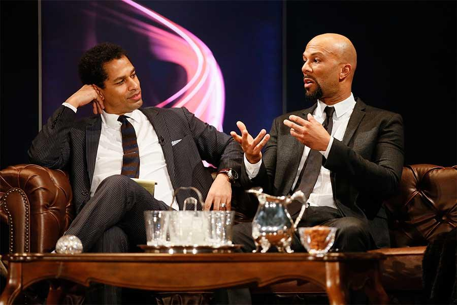 Toure and Common onstage at An Evening with Norman Lear at the Montalban Theater in Hollywood.