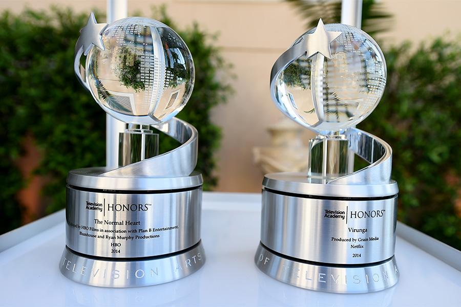 The trophies to be presented at the Eighth Annual Television Academy Honors, May 27 at the Montage Beverly Hills.