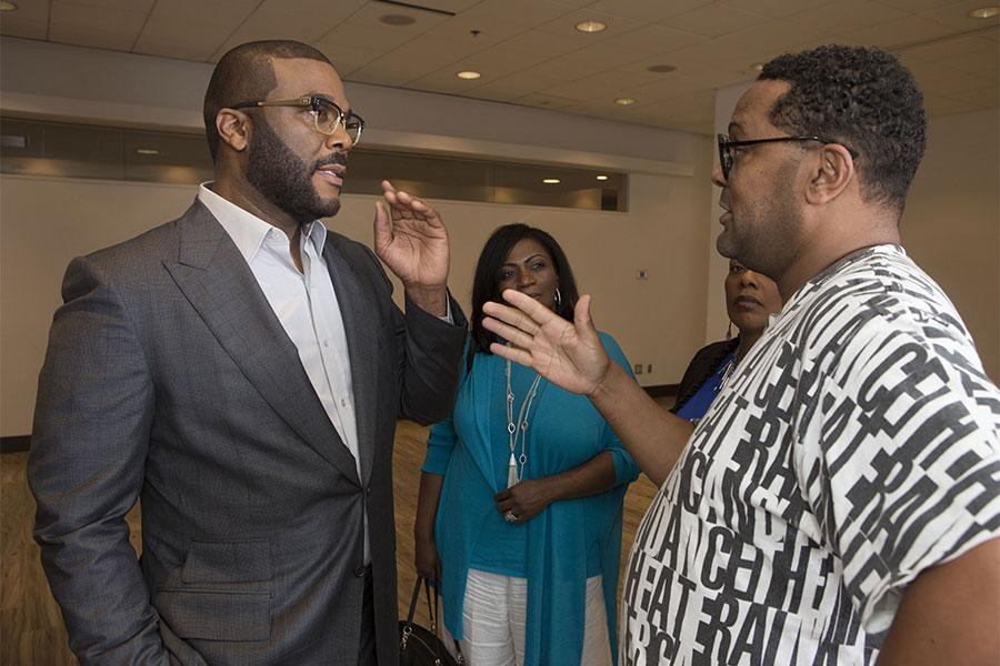 """Tyler Perry chats with Imara Canady at the Television Academy's first member event in Atlanta, """"A Conversation with Tyler Perry,"""" at the Woodruff Arts Center on Thursday, May 4, 2017."""