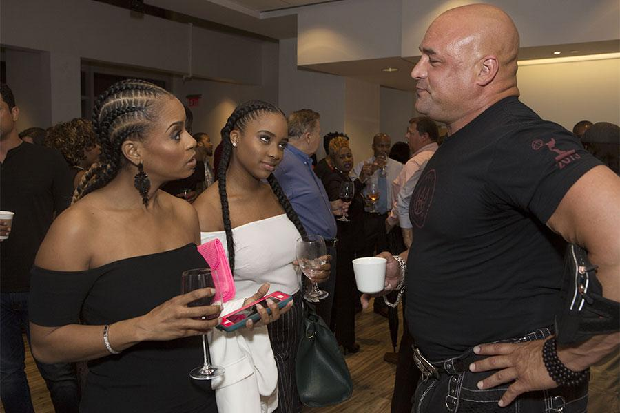 """Ulrike Stewart, Brooklynn Summers, and Esteban Cueto chat at the Television Academy's first member event in Atlanta, """"A Conversation with Tyler Perry,"""" at the Woodruff Arts Center on Thursday, May 4, 2017."""