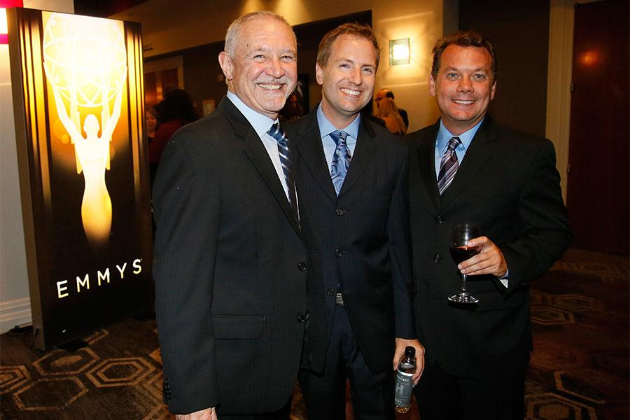 Television Academy governor Steve Venezia, Maury McIntyre, president and COO of the Television Academy, and Patrick Welborn at the 2015 Engineering Emmys at the Loews Hotel in Los Angeles, October 28, 2015.