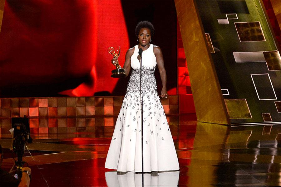 Viola Davis accepts her award at the 67th Emmy Awards.