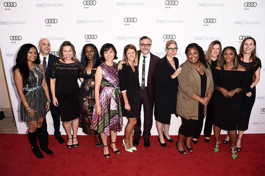 The team from We Will Rise: Ginger Shankar, Oliver Lief, Tiffany Drake,Tsehaitu Retta, Innbo Shim, Gina Nemirofsky,Tony Gerber, Beth Osisek, Alexandra Hanibel, Courtney Sexton, Isha Sesay, and Martha Adams arrive at the 2017 Television Academy Honors at t