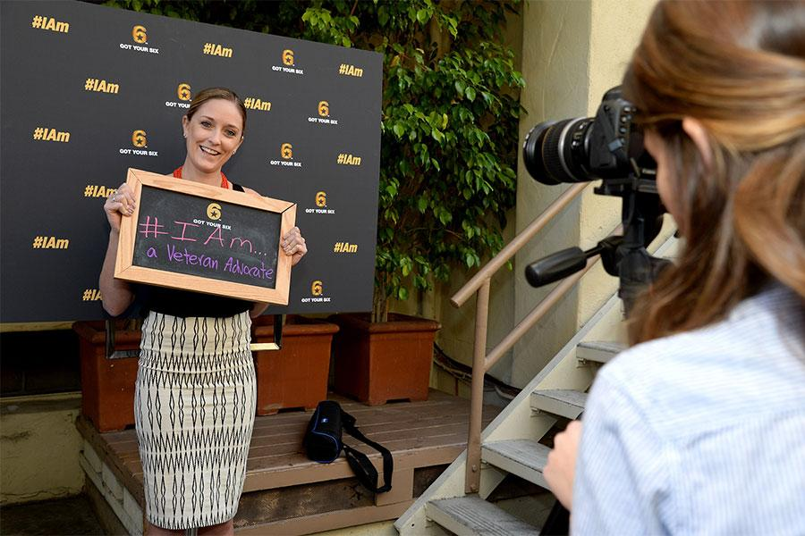 A guest poses for a photo at the Got Your 6 Storytellers event, November 10, 2015, in Los Angeles, California.