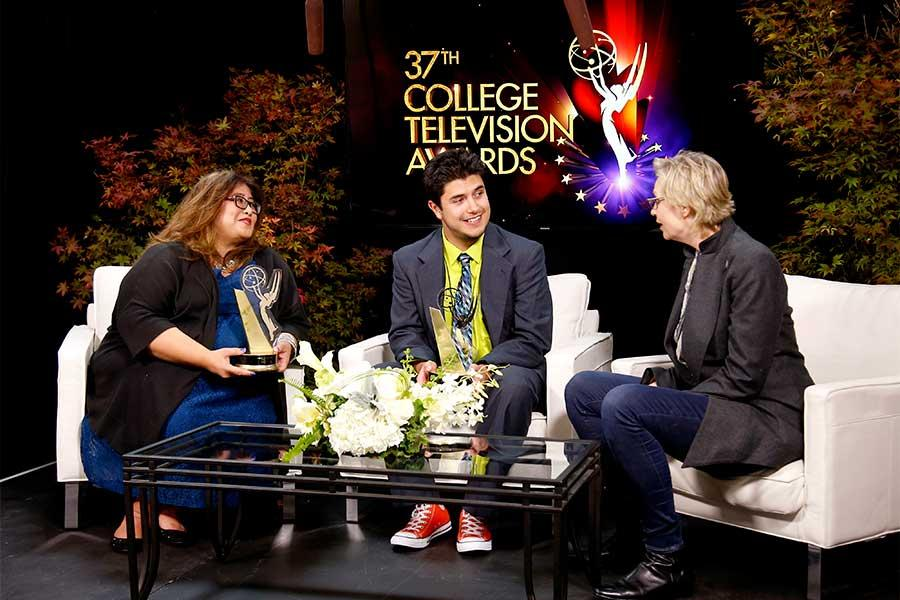 Raquel M. Sangalang and Justin Garcia chat with Jane Lynch at the 37th College Television Awards at the Skirball Cultural Center on Wednesday, May 25, 2016, in Los Angeles.