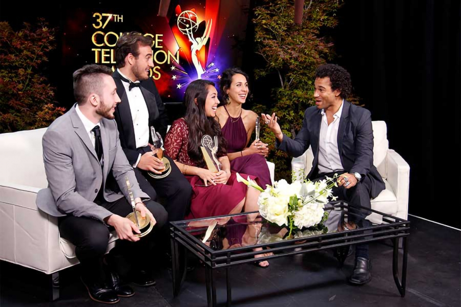 Thaddaeus Andreades, Nicholas Manfredi, Elizabeth Ku-Herrero, and Marie Raoult chat with Corbin Bleu at the 37th College Television Awards at the Skirball Cultural Center on Wednesday, May 25, 2016, in Los Angeles.