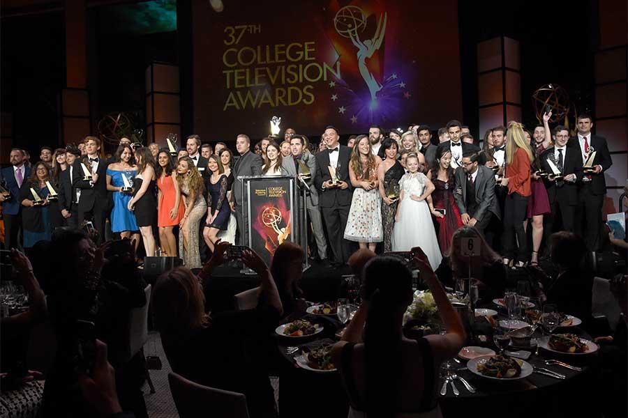 College Television Award winners pose on stage at the 37th College Television Awards at the Skirball Cultural Center on Wednesday, May 25, 2016, in Los Angeles.