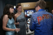 Zooey Deschanel, Emily Deschanel and Sir Elton John hang out in the Audi Green Room at the 65th Emmy Awards.