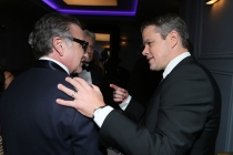 Robin Williams and Matt Damon share a moment in the Audi Green Room at the 65th Emmy Awards.