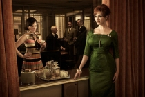 Still of Christina Hendricks and Elisabeth Moss and background in Mad Men