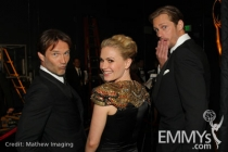 Stephen Moyer, Anna Paquin & Alexander Skarsgård ham it up backstage at the 62nd Primetime Emmy® Awards