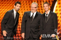 Josh Harris, Thom Beers, and Jake Harris speak onstage during the 62nd Primetime Creative Arts Emmy Awards