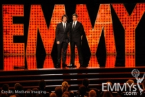 Andy Samberg (L) and Seth Meyers speak onstage during the 62nd Primetime Creative Arts Emmy Awards