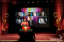 Melissa McCarthy and Joshua Jackson at the 63rd Primetime Emmy Awards Nominations Ceremony