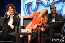American Idol judges Steven Tyler, Jennifer Lopez and Randy Jackson at the 2012 winter TCA conference