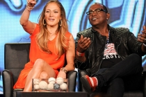 American Idol judges Jennifer Lopez and Randy Jackson at the 2012 winter TCA conference