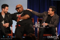 Adam Levine, Cee Lo Green and host/producer Carson Daly onstage during The Voice panel at the 2012 Winter TCA Tour