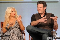 Christina Aguilera and Blake Shelton onstage during The Voice panel at the 2012 Winter TCA Tour