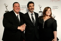 Billy Gardell, Chuck Lorre and Melissa McCarthy arrive at the 21st Annual Hall of Fame Gala