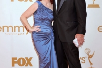 (L-R) Kate Flannery, Chris Haston arrives at the Academy of Television Arts & Sciences 63rd Primetime Emmy Awards