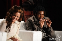 Katy Mixon and Nyambi Nyambi participate in an Evening with Mike & Molly