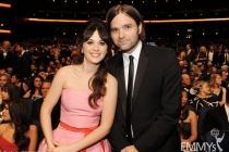 Zooey Deschanel (L) and Ben Gibbard (R) in the audience