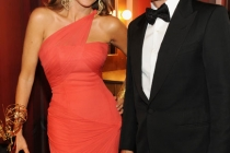 Sofia Vergara (L) and Rob Lowe backstage during the Academy of Television Arts & Sciences 63rd Primetime Emmy Awards