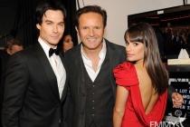(L-R) Ian Somerhalder, Mark Burnett and Lea Michele backstage