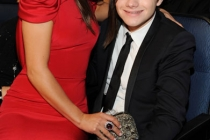 Lea Michele (L) and Chris Colfer in the audience
