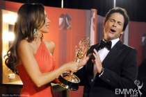 Sofia Vergara and Rob Lowe backstage at the Academy of Television Arts & Sciences 63rd Primetime Emmy Awards