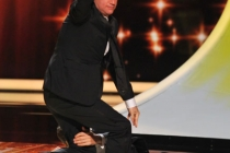 Jimmy Kimmel, Jimmy Fallon presenting onstage at the Academy of Television Arts & Sciences 63rd Primetime Emmy Awards