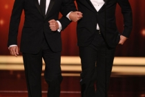 (L-R) Jimmy Kimmel, Jimmy Fallon presenting onstage at the Academy of Television Arts & Sciences 63rd Primetime Emmy Awards