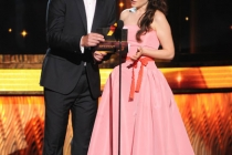 Will Arnett and Zooey Deschanel onstage at the Academy of Television Arts & Sciences 63rd Primetime Emmy Awards at Nokia Theatre