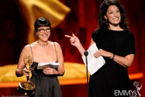 Ellen Lewis and Meredith Tucker accepting their award at the 2011 Primetime Creative Arts Emmys