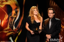 Connie Britton and Jason Katims presenting at the Academy of Television Arts & Sciences 2011 Primetime Creative Arts Emmys