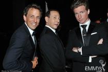 Seth Meyers, Paul Reubens, Josh Meyers backstage